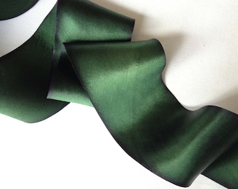 Pine Needle Green Hand Dyed Silk Ribbon-2 yard increments