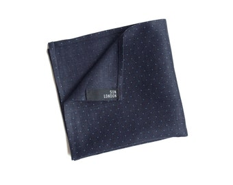 Sloane Linen Navy Blue Pocket Square, Men's Hand-Rolled Handkerchief