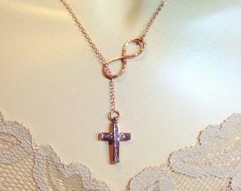 GOLD Infinity Lariat Cross Necklace - Gold Filled CZ Cross Infinity  - Faith Necklace / Cross Infinity - Catholic Jewelry - Diamond Cross