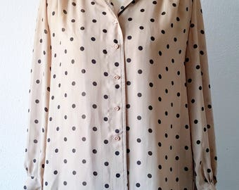 Vintage Polka Dot Blouse/ Button Up Shirt Vintage/ Sheer/ Secretary Blouse/ Polka Dot Shirt/ Indie/ Hipster/ Office/ Casual/ Mod/ Punk/ M
