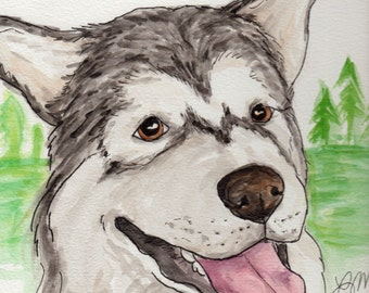 Original Malamute/Husky Watercolor Painting Portrait (9x12): Gift for Dog Lover