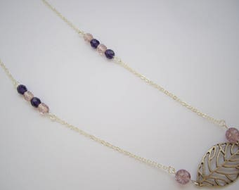 Silver leaf necklace and Pearl - colored Metal