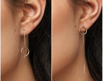 Threader Earrings, Ear Threader, Long Chain Earrings, in 14kt Gold Filled, Sterling Silver, Circle Earrings -10mm C8
