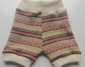 6-18+ months - Beige, Green and Orange Patterned Diaper Cover Lambswool Shorties - Recycled wool and interlock wool shorts