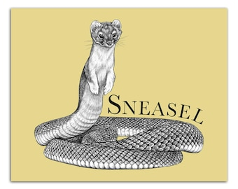 "Sneasel 8x10"" High Quality Color Print, Snake + Weasel Hybrid Animal, Reptile Art, Wall Art, Office Décor, Whatif Creations, Portland, OR"