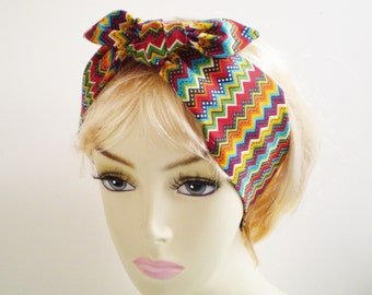 Boho Head Scarf, Boho Head Wrap, Colorful Boho Head Scarf, Bohemian Head Scarf