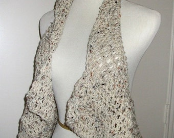 Hand Crochet Circle Swing Vest, Crochet Circle Vest, Mandala Vest, Festival Wear in - Oatmeal - or CHOOSE YOUR COLOR