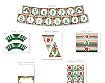 INSTANT DOWNLOAD - Hungry Caterpillar, Printable Party Decorations