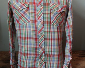 Vintage Western Shirt | Double R Brand | Thin | Pearl Snaps | Size Small Medium