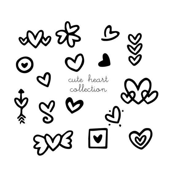 Herz Clipart, doodles Herz Png niedlich doodled schwarz weiß ...