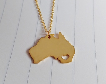 Australia Necklace,Gold Australia Charm Necklace,Australia City Necklace,Australia Map Necklace,State Shaped Necklace With A Heart