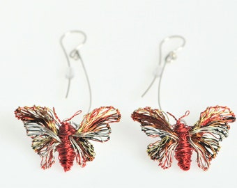 Butterfly earring, red, wire sculpture art, long dangle earring, insect, modern hippie, statement jewelry, Spring, birthday gift for her