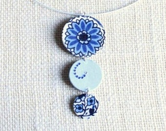 Pendant trio of round blue fabric and rhinestones - gift idea