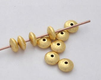gold saucer beads, brushed finish Spacer beads, gold vermeil beads, brushed spacer beads, Jewelry spacer beads 8mm gold plated beads