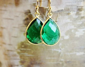 Emerald Earrings, May Birthstone Earrings, Green Earrings, Dangle Earrings, Genuine Emerald Earrings, Christmas Gift for Her, Gift for Wife