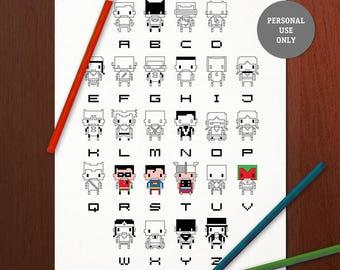 Superheros Adult Coloring Page Printable | Pixel Art Color Pages | 8-bit Coloring Book Page | Comics Colour Therapy Art | Alphabet | Batman