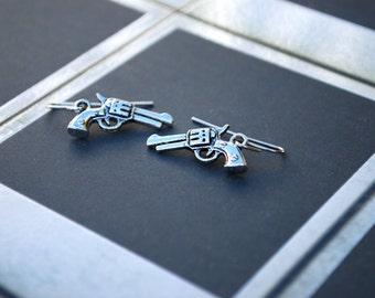 Western Gun Earrings -- Silver
