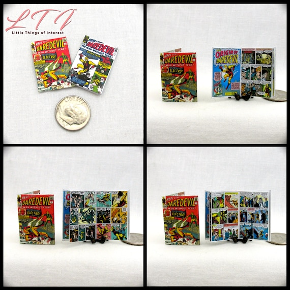2 Miniature DAREDEVIL COMIC Dollhouse Readable Book Comic 1:12 Scale 2 for 1 Marvel Superhero Devil of Hell's Kitchen Man Without Fear