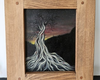 The Ancestor Tree - Original landscape oil painting on canvas board