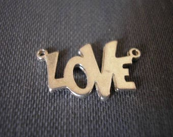 Pendant LOVE 15 mm silver plated 2 hole