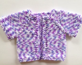 Baby Girl Jacket  Handknit Baby Sweater Purple Baby Sweater Knit Baby Jacket  Baby Cardigan Infant Sweater Ready to Ship Baby Shower Gift
