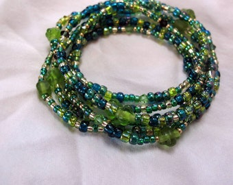 Greens and gold multi-wrap seed bead and Swarovski crystal stretch bracelet/necklace