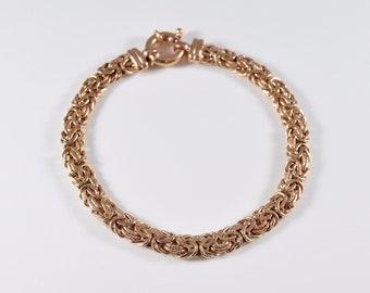 Vintage 14K Rose Gold Byzantine Bracelet