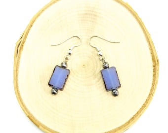 Silver and Periwinkle Beaded Dangle Earrings