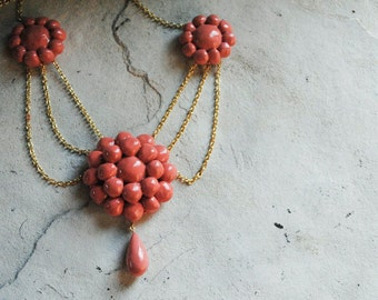 Coral Scarlett O'Hara Reproduction BBQ Necklace Choker Custom