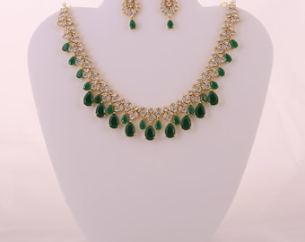 Elegant CZ Emerald and White Stone Necklace
