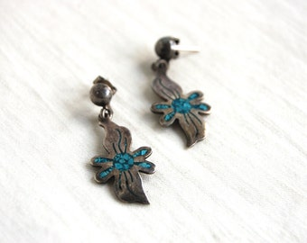 Mexican Turquoise Dangle Earrings Sterling Silver Post Dangles Vintage Chip Turquoise River Sun Hecho en Mexico