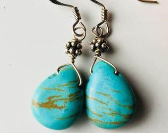 Howlite Dangle Earrings, Teardrop Earrings, Southwest Earrings, Dangle and Drop Earrings, Silver Plated Earrings, Etsy, Etsy Jewelry