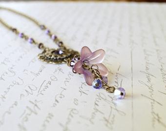 Purple Lucite Flower Necklace, Watch Gear Necklace, Vintage Style Necklace