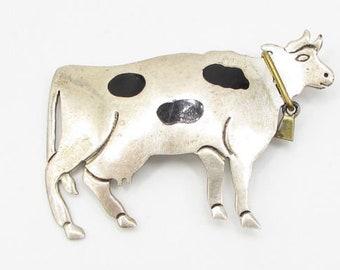 Mexico 925 sterling silver - vintage farm cow brooch pin pendant - bp1085