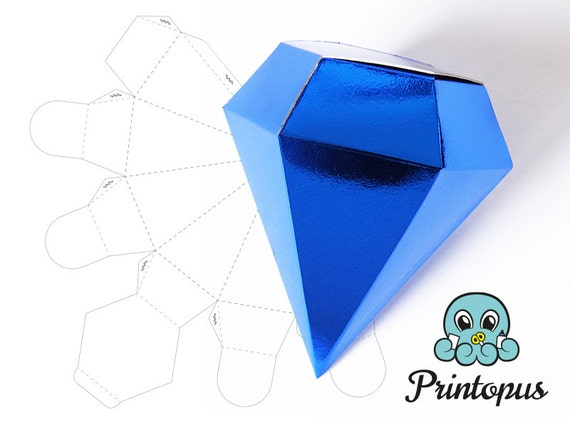 Diamond Shape Printable Gift Box Template Pdf Digital File
