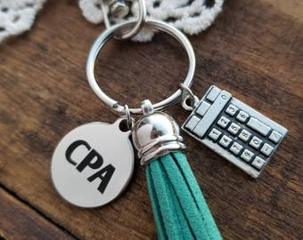 Gift for accountant CPA certified public accountant gift keychain, CPA  charm keyring, graduation gift for certified public accountant CPA