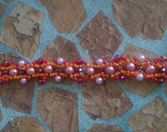 Bracelet Tennis bracelet Red Symphony beaded bracelet