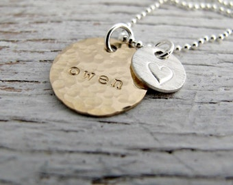 Kid's Name Mother's Necklace, Hammered, Personalized Mother's Necklace, Personalized Jewelry
