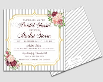 Maroon and Blush Floral Striped Bridal Shower Invitation | Burgundy Flowers | Fall Bridal Shower | Bridal Shower | Bridal Shower Invite