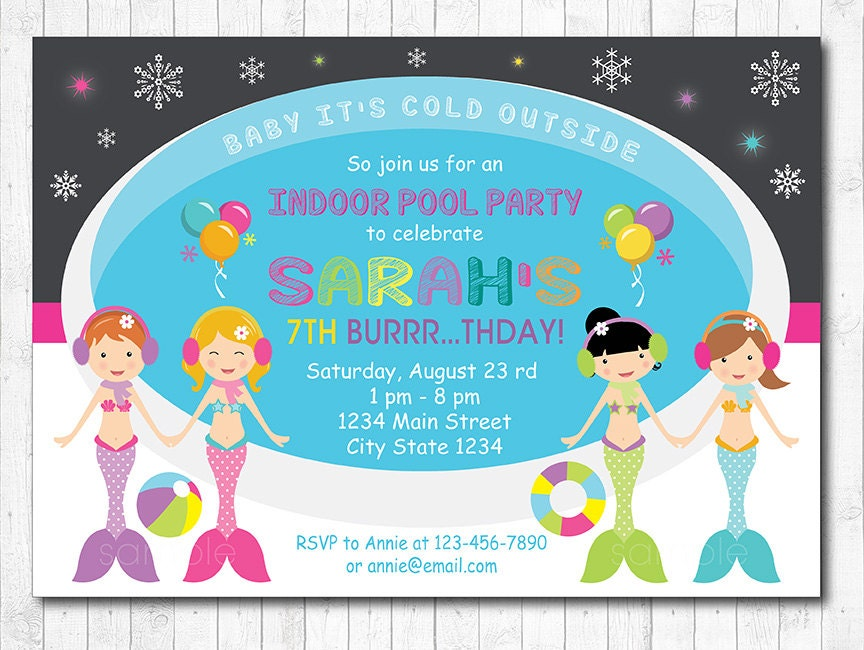Mermaid Pool Party Invitation Mermaid Indoor winter pool