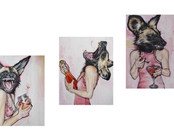 "Print Set: (Three 11x14 ) ""Happy Hour"" Signed and Numbered Giclee Fine Art Prints By Alexis Price"