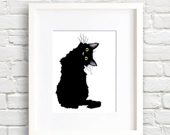 Crazy Black Cat - Art Print - Wall Decor - Watercolor Painting