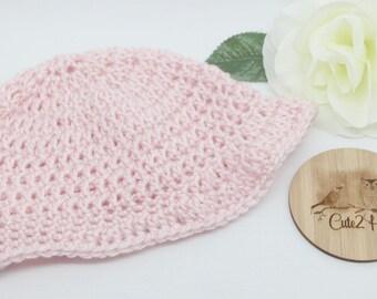 Crochet Beanie, Size 6 mths, Pink, Newborn Beanie, Baby Hat, Toddler Beanie,