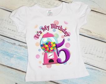 Bubble Gum Birthday Shirt, Girls T-Shirt, Candy, Any Age