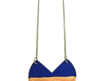 Cobalt and Aqua Long Enamel Necklace