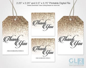 Champagne Thank you tags / Favor Tags. Printable Sparkle Glitter Champagne Bridal Shower, Wedding, Birthday Gift Tags. Beige / Tan / Golden