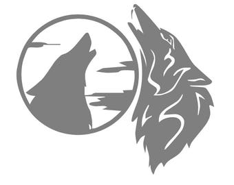 Wolves howling at Moon, vinyl decal, Gray Wolf, Timber Wolf, Wolf pack, Wolf totem, Native American Indian Wolf Legends, vinyl sticker, yeti
