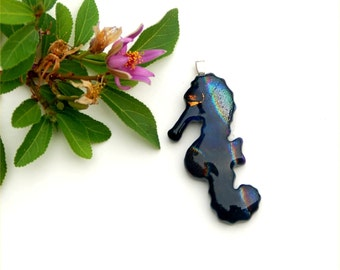 Fused dichroic glass pendant, seahorse