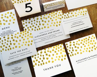 Printable Wedding Invitation Set - Gold Dot Wedding Invites - Wedding Printables -  Wedding Stationery Downloads - Gold Dots - PDF Invites