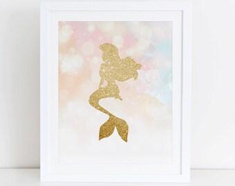 Mermaid Art Print, Little Mermaid Art Print, Instant Download,  Printable Home Decor,  Mermaid Nursery Decor,  Little Mermaid